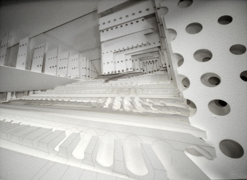 Relief Paper Model -- An Interior View of the Pedestrian Route