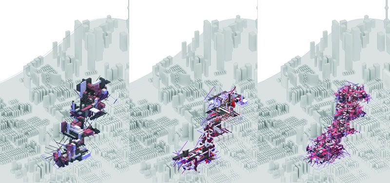 Series of Scripted Models deployed in the context of Century Avenue, Pudong